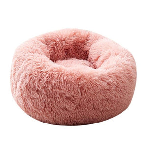 2019 New Round Dog Bed Washable Long Plush Dog Kennel Cat House Super Soft Cotton Mats Sofa For Dog Basket Pet Warm Sleeping Bed