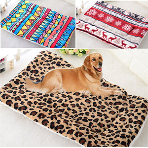 Winter Warm Large Soft Print Flannel Cotton Mattress Dog Cat Pet Mat Bed Pad Self Heating Rug Thermal Washable Pillow