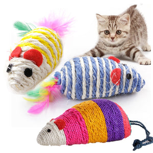 Kitten Mouse Toy Pet Cat Scratch Board Sisal Scratching Pad Chewing False Mice Toy Cat Scratch Board Supplie Random Color