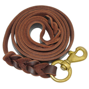 Braided Leather Dog Leash Pet K9 Walking Training Leash Lead For Medium Large Dogs German Shepherd Gift Dog Training Clicker
