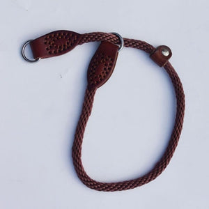 High Quality Leather Nylon Dog Collar Half Choke Chain Dogs Training Pinch Collars  For Medium Large Pet Black Red Brown color