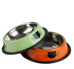 1Pcs Dog Cat Food Bowls Stainless Steel Pets Drinking Feeding Bowls Pet Supplies Anti-skid Dogs Cats Water Bowl Pet Tools