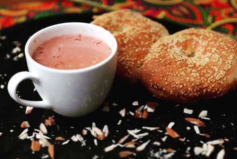 Sheer Chai served with freshly baked Taelwor at Matamaal Restaurants.