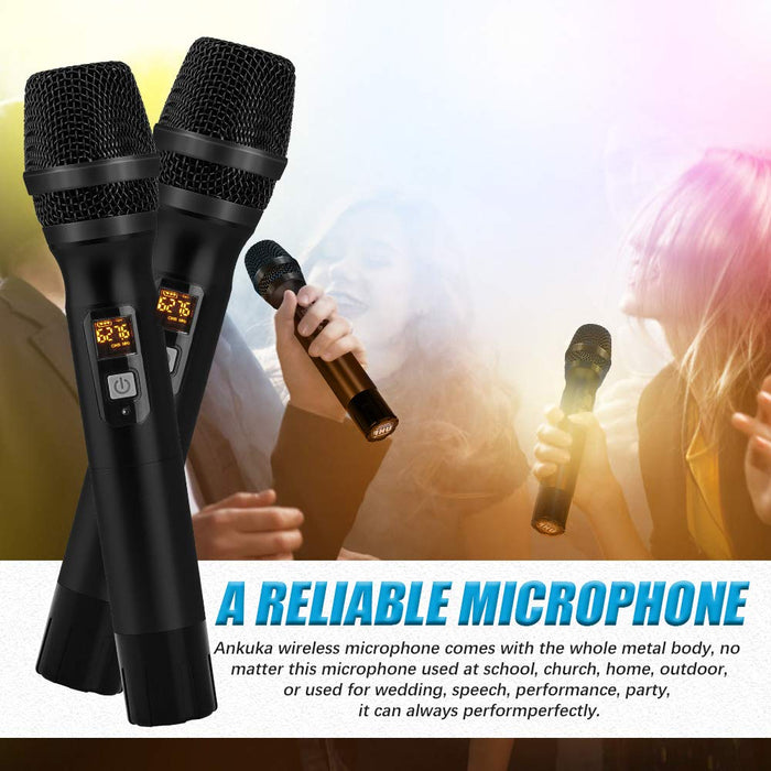 Ankuka Wireless Karaoke Microphone, 25 Channel UHF Cordless Dynamic Microphone System with Portable Receiver 6.5mm Output & 3.5mm Output Adapter for House Parties, Karaoke, Business Meeting (Black)
