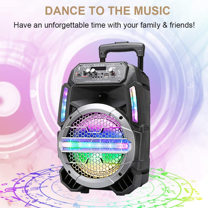 Ankuka Bluetooth Karaoke Machine for Kids and Adults with Colorful LED Lights, Wireless PA Speaker Sound System with 8'' Subwoofers and Wired Microphone for Party, Singing