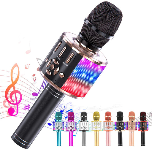 Ankuka Karaoke Microphone for Kids, Fun Toys for Girls and Boys, Portable Wireless 4 in 1 Bluetooth Karaoke Microphone with LED Lights, Gift Speaker Machine Christmas Birthday Smartphone(Black Gold)