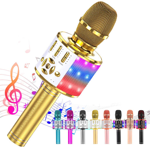 Ankuka Karaoke Microphone for Kids, Fun Toys for Girls and Boys, Portable Wireless 4 in 1 Bluetooth Karaoke Microphone with LED Lights, Gift Speaker Machine Christmas Birthday Smartphone (Light Gold)
