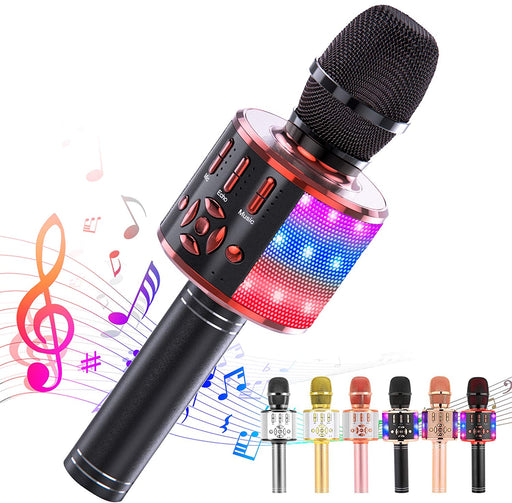 Ankuka Karaoke Microphone for Kids, Fun Toys for Girls and Boys, Portable Wireless 4 in 1 Bluetooth Karaoke Microphone with LED Lights , Gift Speaker Machine Christmas Birthday Smartphone(Black Red)