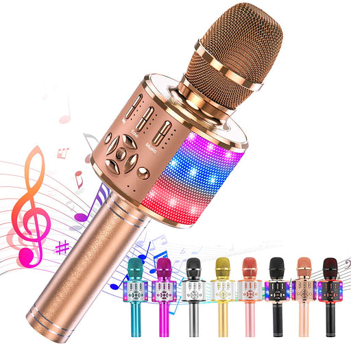 Ankuka Karaoke Microphone for Kids, Fun Toys for Girls and Boys, Portable Wireless 4 in 1 Bluetooth Karaoke Microphone with LED Lights, Gift Speaker Machine Christmas Birthday(Rose Gold Plus)