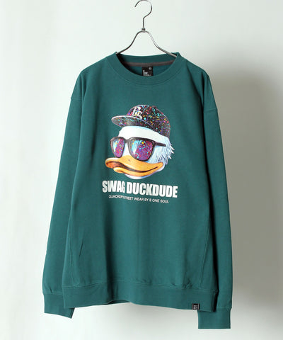 【 DUCK DUDE 】REAL FACE LOGO PRINTED CREW NECK SWEAT