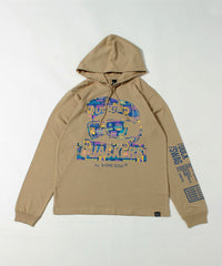 【 DUCK DUDE 】 STICKERS IN FACE LONG SLEEVE HOODED TEE