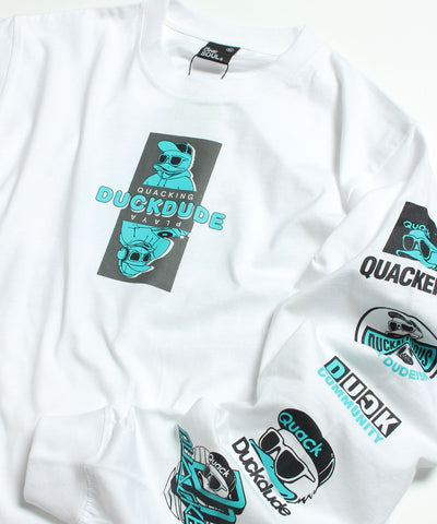 【 DUCK DUDE 】TWO-TONE COLOR PRINT LONG SLEEVE T-SHIRT