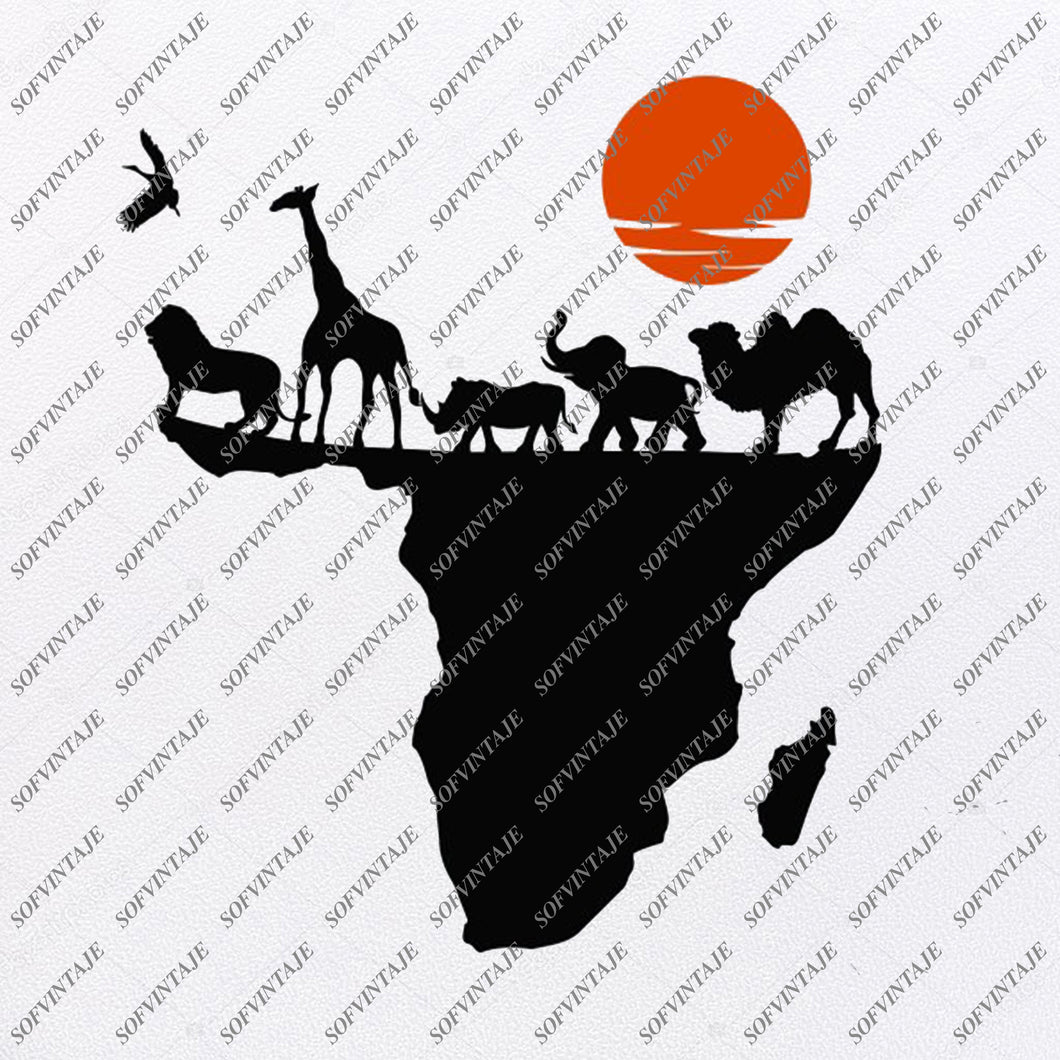 Africa Svg Files - African Continent Svg Design - African Animals Clipart - Vector Graphics - Svg For Cricut - Svg For Silhouette - SVG - EPS - PDF - DXF - PNG - JPG - AI