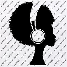 Load image into Gallery viewer, African American Girl - Girl With Headphones  Svg File - African American Girl Silhouette - Svg Files - African Girl Png - Black Girl Svg - Original Svg Design - Svg For Silhouette - SVG - EPS - PDF - DXF - PNG - JPG - AI