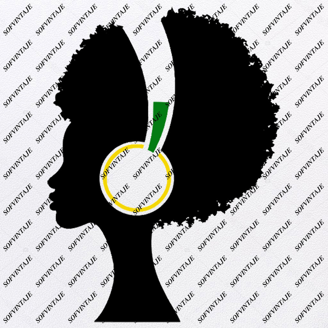 African American Girl - Girl With Headphones  Svg File - African American Girl Silhouette - Svg Files - African Girl Png - Black Girl Svg - Original Svg Design - Svg For Silhouette - SVG - EPS - PDF - DXF - PNG - JPG - AI