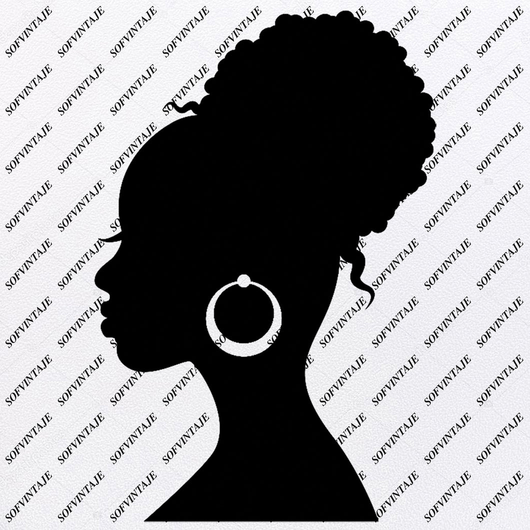 African American Girl Silhouette - Svg Files - African Girl Png - Black Girl Svg - Original Svg Design - Svg For Silhouette - SVG - EPS - PDF - DXF - PNG - JPG - AI