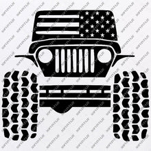 Load image into Gallery viewer, American Jeep Svg Files - USA Flag Svg Design - Original Design - Svg Files For Cricut - Svg For Silhouette - American Jeep Clip art - Flag Usa - SVG - EPS - PDF - DXF - PNG - JPG - AI