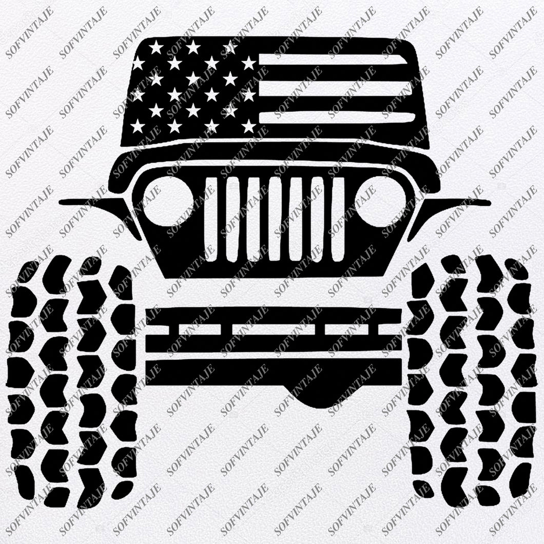 American Jeep Svg Files - USA Flag Svg Design - Original Design - Svg Files For Cricut - Svg For Silhouette - American Jeep Clip art - Flag Usa - SVG - EPS - PDF - DXF - PNG - JPG - AI