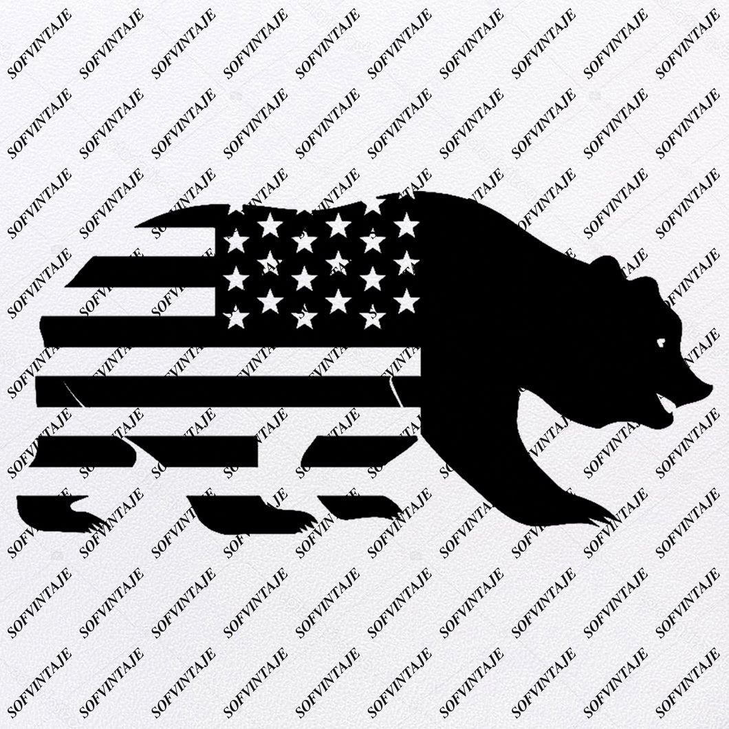 Bear - USA Flag Bear Svg File - Bear  Svg - Bear Clip art - Animals Svg - Wild Animal Png - Vector Graphics - Svg For Cricut - For Silhouette - SVG - EPS - PDF - DXF - PNG - JPG - AI
