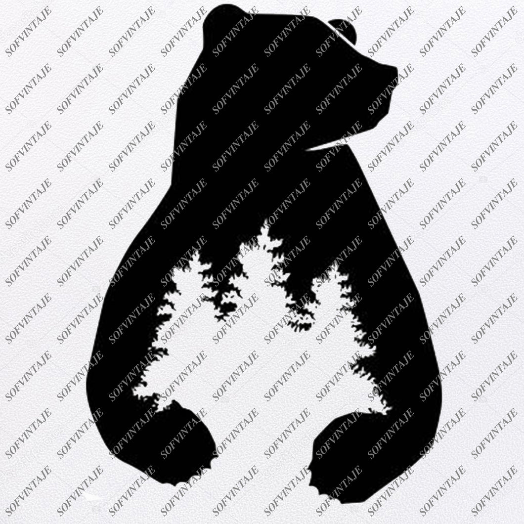 Bear Svg File - Bear in Wood - Animals Svg - Wild Animals Svg - Bear Clip art - Vector Graphics - Svg For Cricut - For Silhouette - SVG - EPS - PDF - DXF - PNG - JPG - AI