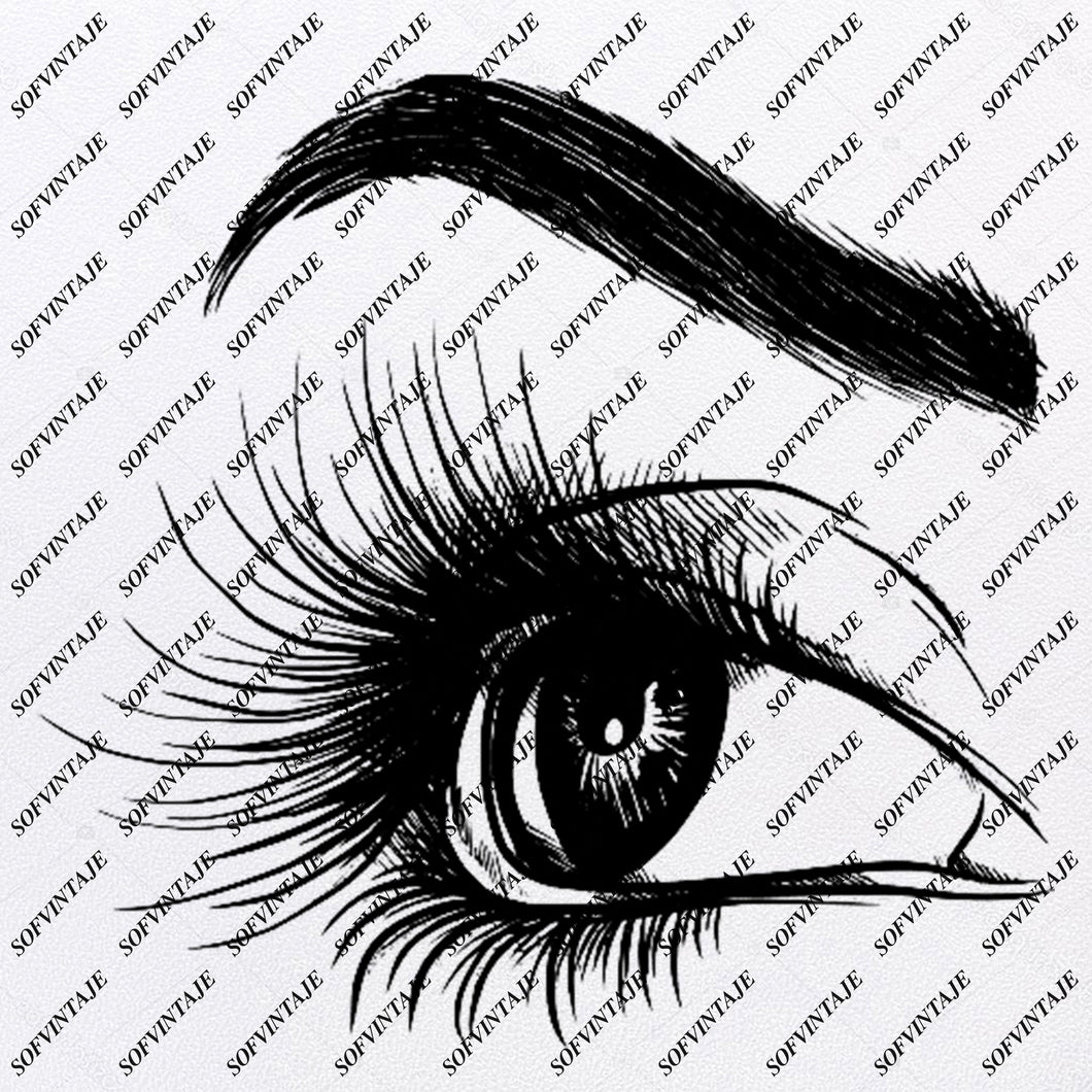Beautiful Lady Eye Svg File-Girl Original Svg Design-Girl's Eye Svg-Tattoo Clip art-Eye Vector Graphics-Svg For Cricut-Svg For Silhouette - SVG - EPS - PDF - DXF - PNG - JPG - AI