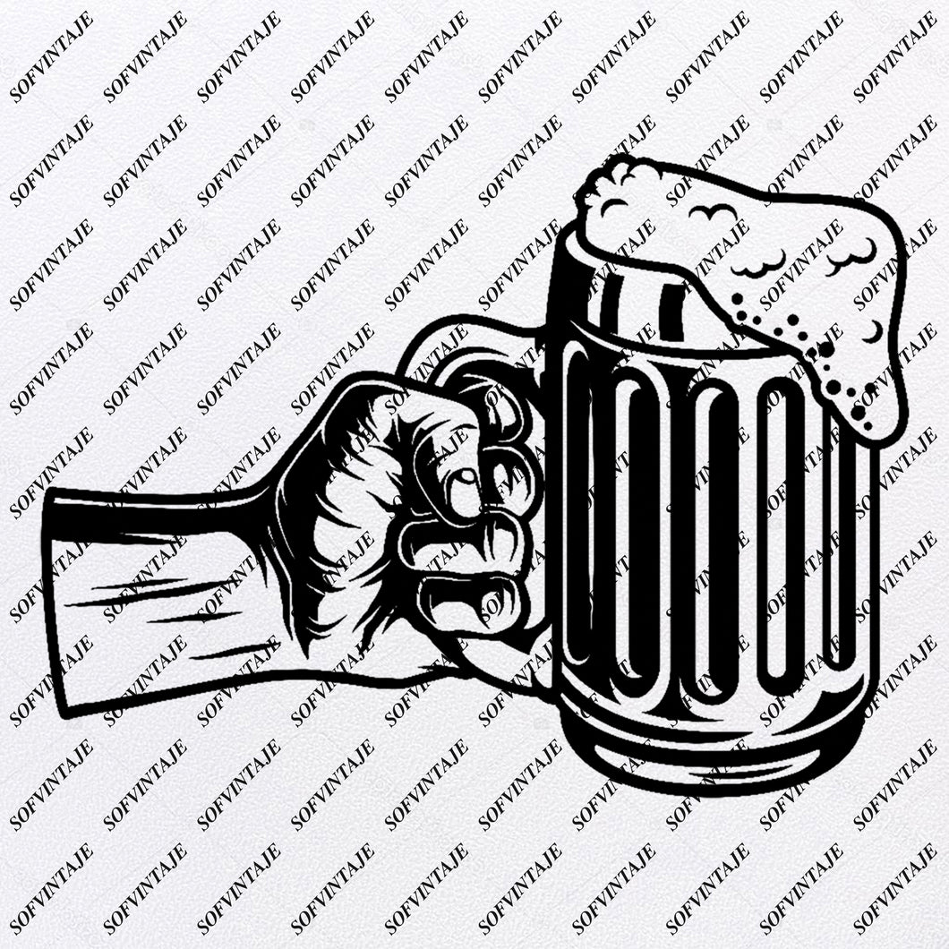 Beer Svg File- Mug of Beer Original Svg Design-Drink Svg-Clip art- Beer  Vector Graphics-Svg  For Cricut-Svg For Silhouette - SVG - EPS - PDF - DXF - PNG - JPG - AI