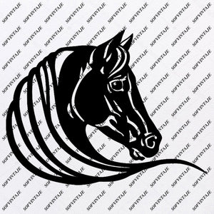 Black Horse Svg File-Wild Horse head Original Svg Design-Animals Svg-Clip art-Vector Graphics-Svg For Cricut-Svg For Silhouette - SVG - EPS - PDF - DXF - PNG - JPG - AI