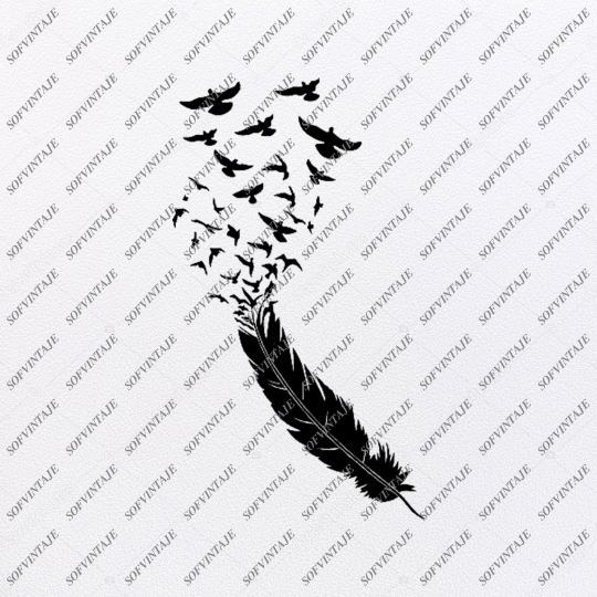 Black and White Feather Svg File-Feather Original Svg Design-Feather Svg-Clip art-Vector Graphics-Svg For Cricut-Svg For Silhouette-SVG - EPS - PDF - DXF - PNG - JPG - AI
