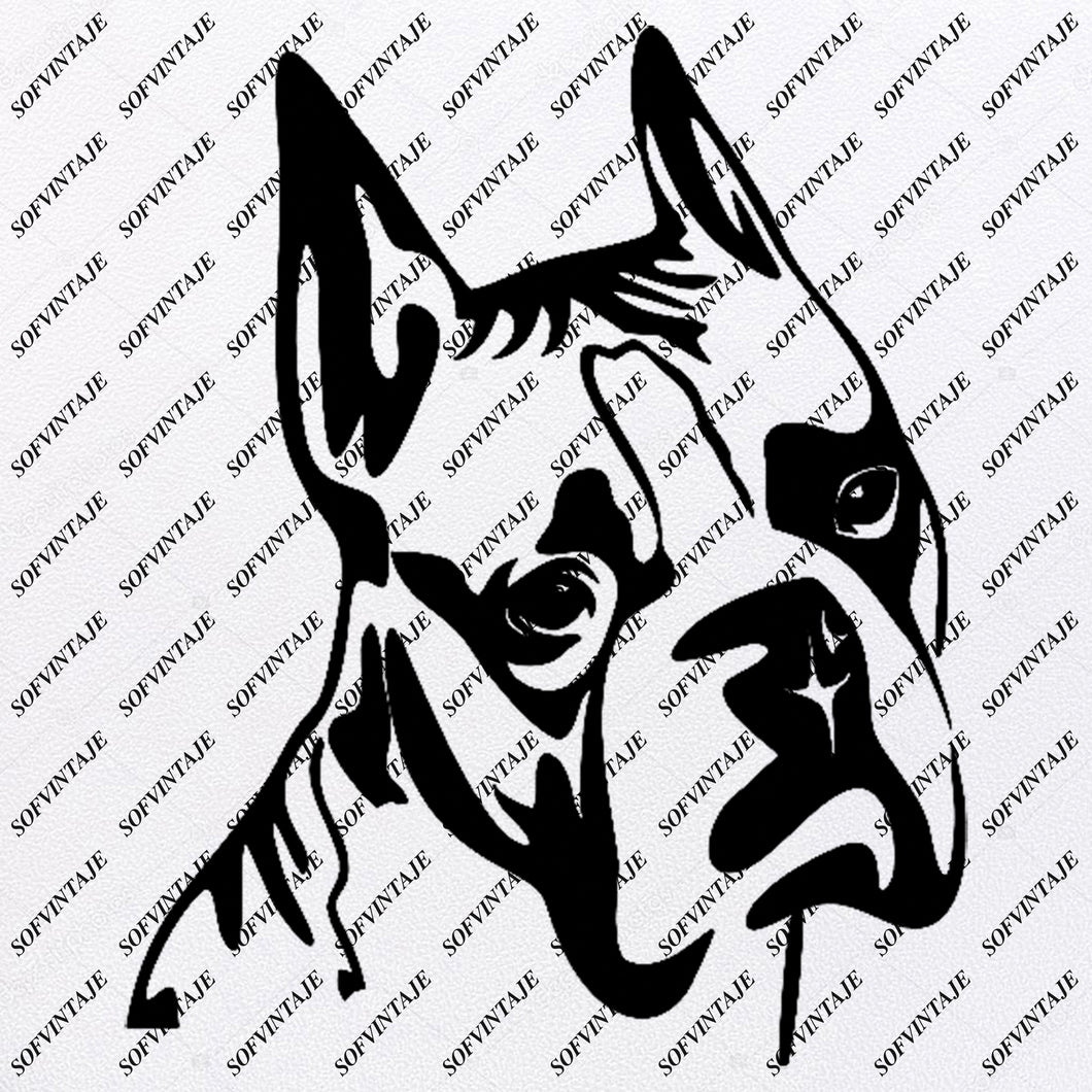Boxer dog Svg File-Tattoo Svg Original Design-Boxer dogs Clip art-Animals Svg File-Vector Graphics-Svg For Cricut-For Silhouette - SVG - EPS - PDF - DXF - PNG - JPG - AI