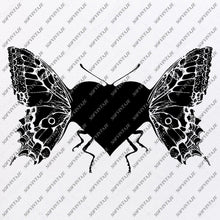 Load image into Gallery viewer, Butterfly - Butterfly Heart Svg File - Tattoo Svg Design - Clipart - butterflies Svg Files - Butterfly Png - Vector Graphics-Svg For Cricut - For Silhouette - SVG - EPS - PDF - DXF - PNG - JPG - AI