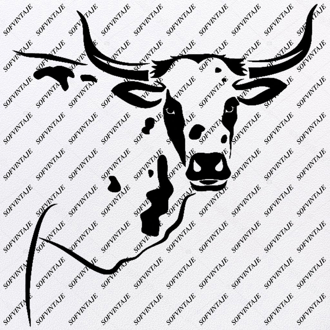 CoW Svg File-HeaD CoW Original Svg Design-Animals Svg- CoW For Tattoo-Clip art-Bull Vector Graphics-Svg For Cricut-Svg For Silhouette - SVG - EPS - PDF - DXF - PNG - JPG - AI