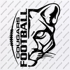 Cougars Football Svg File - Cougars Football Icon - Clipart - Football Svg - Vector Graphics - Svg For Cricut - For Silhouette - SVG - EPS - PDF - DXF - PNG - JPG - AI
