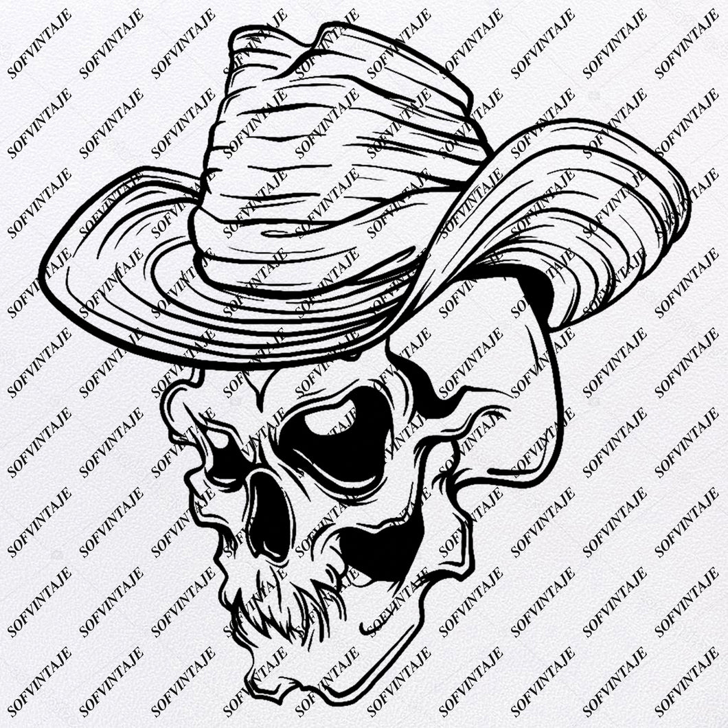 Cowboy Skull Svg File-Cowboy Skull Svg Design - Clipart-Skull Svg File-Skull Png-Vector Graphics-Svg For Cricut-For Silhouette - SVG - EPS - PDF - DXF - PNG - JPG - AI