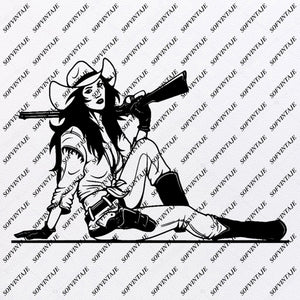 Cowgirl Svg File - Girl With Gun Svg - Western Svg - Cowgirl Clip art - Gun Png - Svg For Cricut - Svg For Silhouette - SVG - EPS - PDF - DXF - PNG - JPG - AI