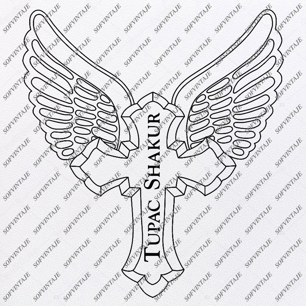 Cross -Cross With wWings - Tupac Shakur  Svg File - 2Pac - Pac  Svg Design - Clipart - Singer Hip Hop Svg File -Cross For Tattoo - Vector Graphics-Svg For Cricut - For Silhouette - SVG - EPS - PDF - DXF - PNG - JPG - AI