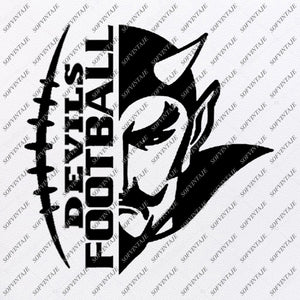 Devils Football Svg File - Football Svg - Devils Svg - Football Clip art - Football Team Mascot - For Cricut - For Silhouette - SVG - EPS - PDF - DXF - PNG - JPG - AI