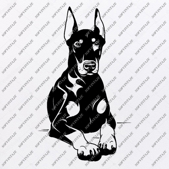 Dobermann Svg File-Tattoo Svg Original Design-Dobermann Clip art-Animals Svg File-Vector Graphics-Svg For Cricut-For Silhouette - SVG - EPS - PDF - DXF - PNG - JPG - AI