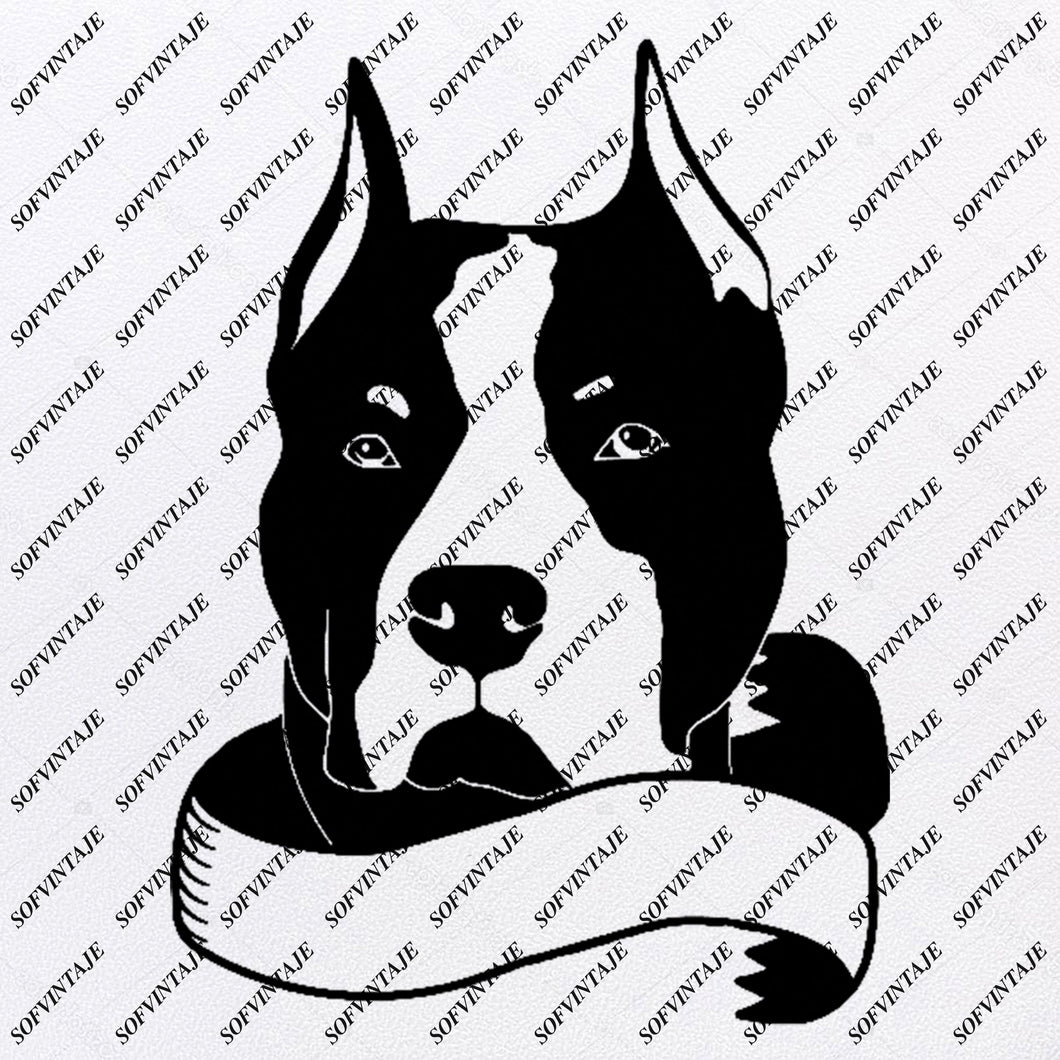 Dog - Pitbull Svg File - Pitbull Svg Original Design - Dog Clip art - Animals Svg File - Vector Graphics - Svg For Cricut - For Silhouette - SVG - EPS - PDF - DXF - PNG - JPG - AI
