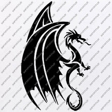 Load image into Gallery viewer, Dragon Svg File - Dragon Original Svg Design - Animals Svg - Clip art - Dragon Vector Graphics - Svg For Cricut - Svg For Silhouette - SVG - EPS - PDF - DXF - PNG - JPG - AI