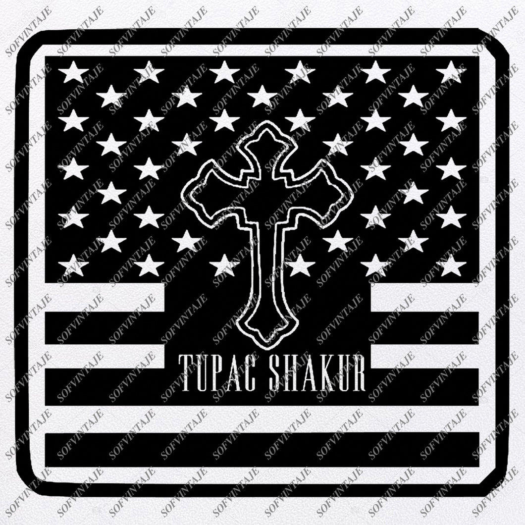 Flag - USA flag Svg File -Flag Cross - Flag Svg Design - Tupac Shakur Original Design - Svg Files For Cricut - Svg For Silhouette - American Flags Clip art - Flags - SVG - EPS - PDF - DXF - PNG - JPG - AI