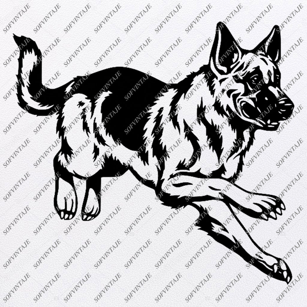 German Shepherd Svg Filea- Shepherd Svg Original Design-Dog Clip art-Animals Svg File-Vector Graphics-Svg For Cricut-For Silhouette - SVG - EPS - PDF - DXF - PNG - JPG - AI