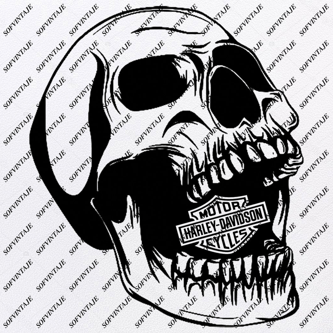 Harley Davidson Svg File- Skull Harley Davidson Svg Design-Clipart-Tattoo For motorcycle- Harley Davitson Png-Vector Graphics-Svg For Cricut-For Silhouette-SVG - EPS - PDF - DXF - PNG - JPG -AI