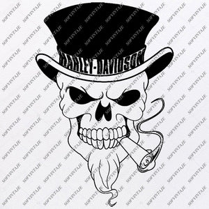 Harley Davidson Svg File-Skull Svg Design - Clipart-Motorcycles Svg File-Davidson Png-Vector Graphics-Svg For Cricut-For Silhouette - SVG - EPS - PDF - DXF - PNG - JPG - AI