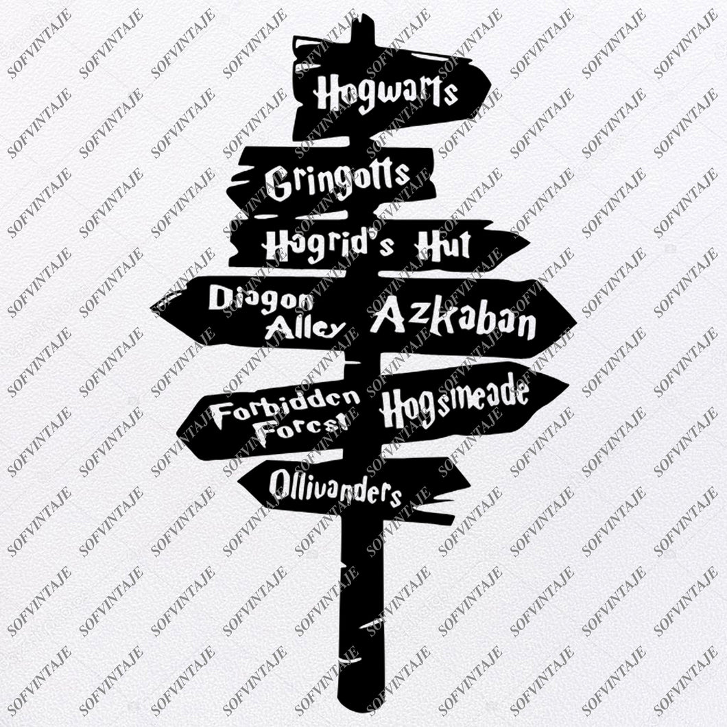 Harry Potter Svg File - Hogwarts Road Sign Svg - Harry Potter Decor - Gringotts Svg - Svg For Cricut - Svg For Silhouette - SVG - EPS - PDF - DXF - PNG - JPG - AI