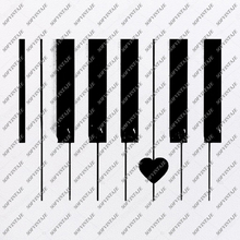 Load image into Gallery viewer, Heart Piano Svg File-Piano music Svg Design-Clipart-Keyboard Music Svg File-music Png-Vector Graphics -Svg For Cricut-For Silhouette - SVG - EPS - PDF - DXF - PNG - JPG - AI