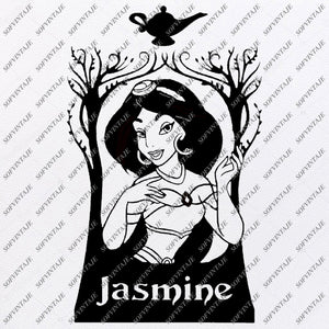 Jasmine Svg File - Princess Jasmine Svg - Disney Princess Clipart - Disney Characters Svg - Vector Graphics - For Cricut - Silhouette - SVG - EPS - PDF - DXF - PNG - JPG - AI