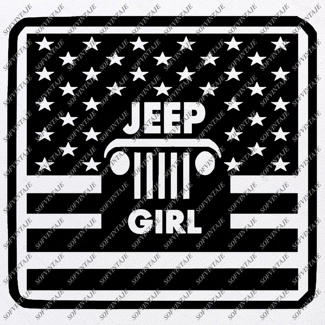 Jeep  Girl Svg Files -  Jeep  Svg Design - Original Design - Svg Files For Cricut - Svg For Silhouette - American Jeep Clip art - Flag Usa - SVG - EPS - PDF - DXF - PNG - JPG - AI
