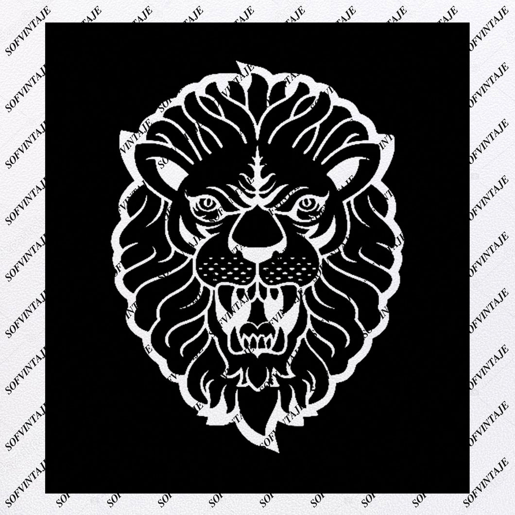 Lion Svg File - King Lion Svg Design - Lion Clipart - Animals Svg - Animals Clip art - Vector Graphics - For Cricut - For Silhouette - SVG - EPS - PDF - DXF - PNG - JPG - AI