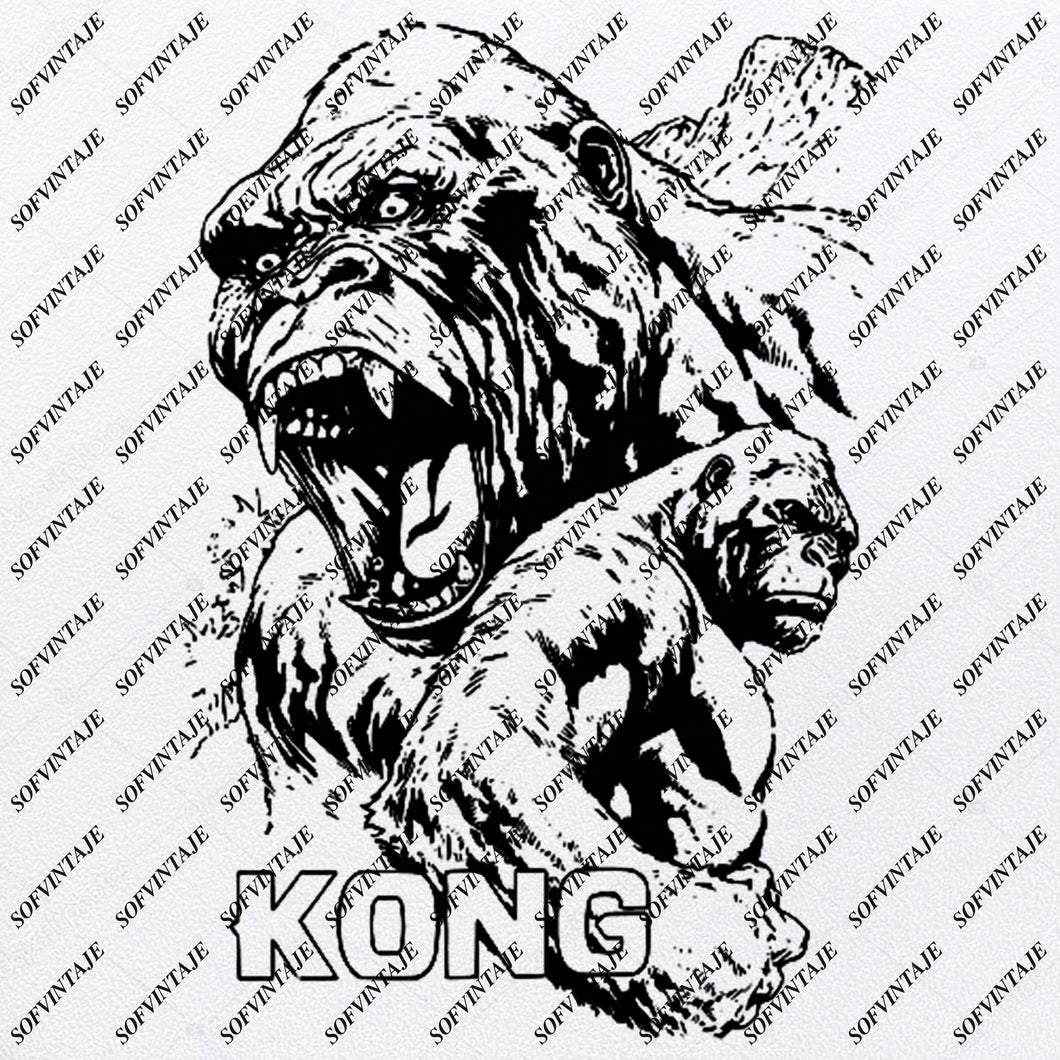 Monkey - Monkey Svg File - King Kong Svg File - Monkey Svg Design - King Kong Clipart - Animals Svg File - Wild Animals - Monkey Vector Graphics - Svg For Cricut - For Silhouette - SVG - EPS - PDF - DXF - PNG - JPG - AI