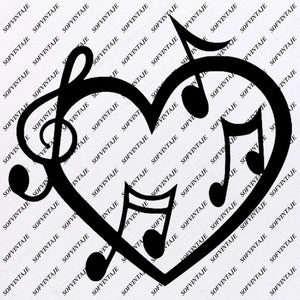Music Note Svg File-Music Note Heart Svg File -Music Svg Design-Clipart-Music Svg File-Music Png-Vector Graphics - Svg For Cricut-For Silhouette - SVG - EPS - PDF - DXF - PNG - JPG - AI